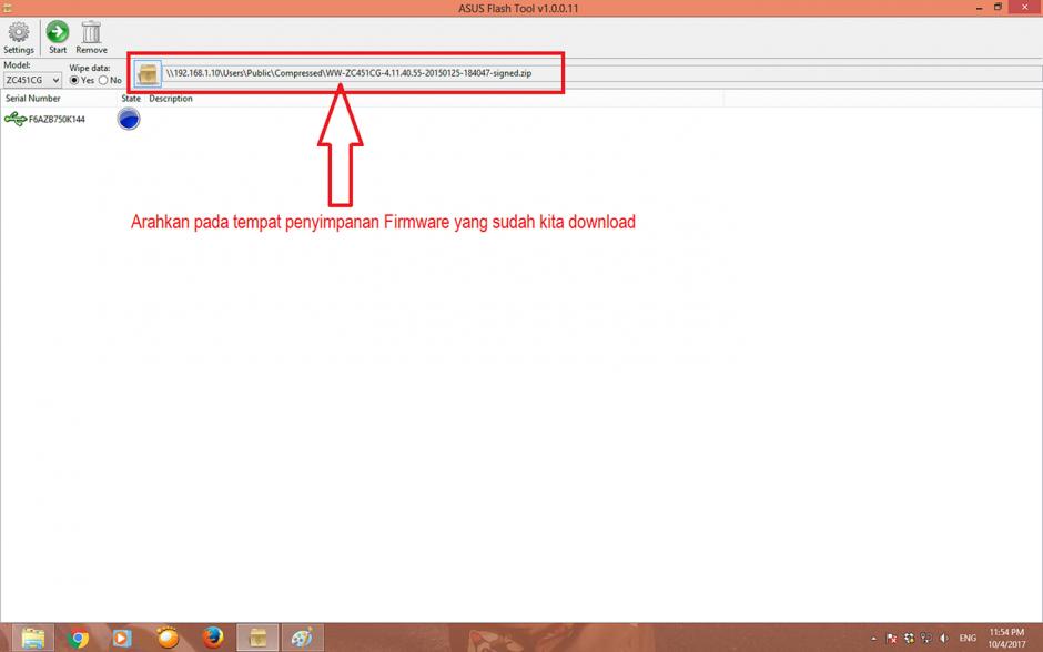 Tampilan alamat penyimpanan firmware